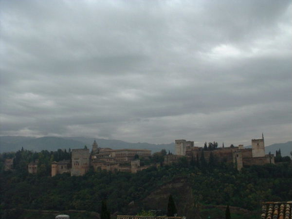 Alhambra from a distance; just ignore the clouds