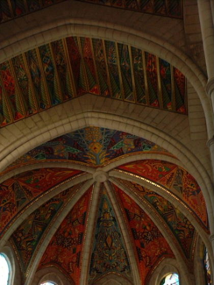 Rather colourful ceiling of the church